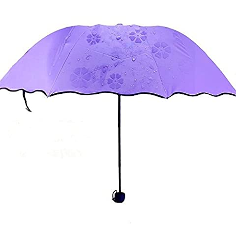 ToxTech Anti soleil Parapluie, Portable Mini Pocket Sunscreen Umbrella Vinyl Coating Blossom dans Wet Umbrella magique (Violet)