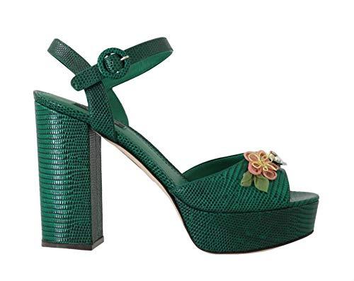 Dolce & Gabbana - Damen Sandalen - Green Iguana Leather Crystal Sandal - EU 39