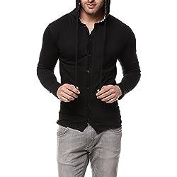 GRITSTONES Black Full Sleeve Hooded T Shirt GSFSHD1289BLK_XL
