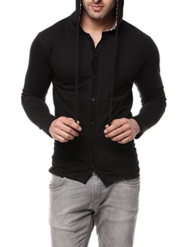 Gritstones Black Full Sleeve Hooded T Shirt GSFSHD1289BLK