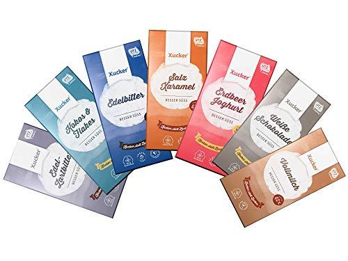Xucker Xylit-Schokolade - Probierset mit 7 Tafeln (700 g) (Haselnuss Schokolade Heiße)