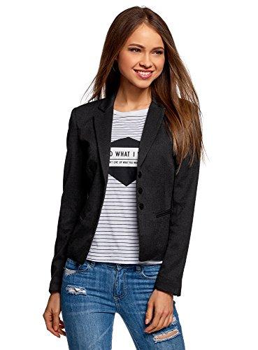 oodji Ultra Damen Taillierter Blazer Basic, Grau, DE 38 / EU 40 / M (Drei-knopf-blazer Klassische)