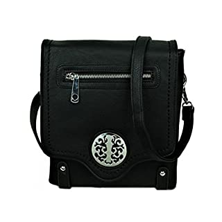 LeahWard Small Size Women's Chic Cute Little Cross Body Bag Nice Great Brand Across Body Purse Handbag 160512 160511 (BLACK FLAP)