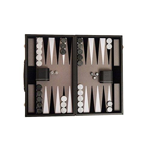 Backgammon Koffer, Kunstlederkoffer, 47 cm, Filz- Intarsie, groß, grau