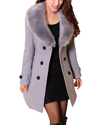 Brinny Damen Wollmantel mit Fellkragen Zweireiher Mantel Knielang mit Gürtel Trench Duffelcoat Grau