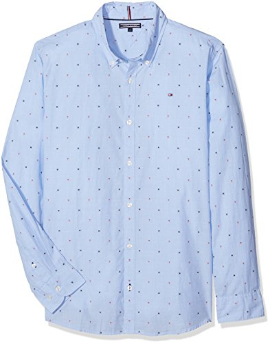 Tommy hilfiger ame th dobby shirt l/s, camicia bambino, blu (shirt blue 474), 14 anni (taglia produttore: 14)