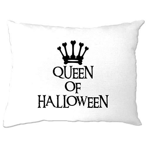 prz0vprz0v Novelty gruseliger Kissenbezug Queen of Halloween Crown Slogan Witz Kostüm Gruselig 30,5 x 40,6 cm Kissenbezug