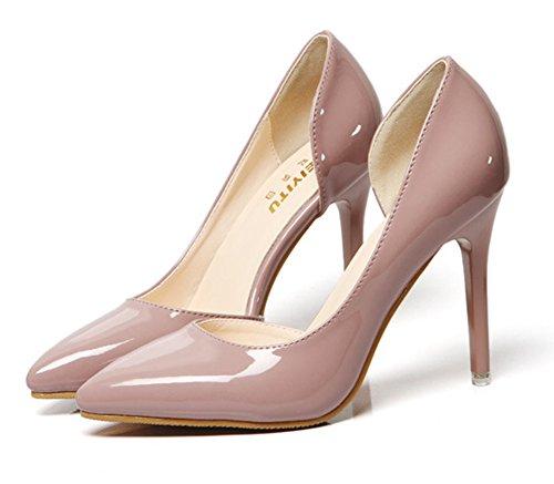 superior quality a6519 cda34 Aisun Damen Kunstleder Spitz Zehen Transparent D-Orsay Low Top Stiletto  High Heel Pumps