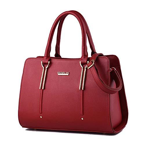 Nicole&Doris New Präge Mode Wilde Reisetaschen Mädchen-Schule-Taschen Rucksäcke PU-Leder-Handtasche Rot