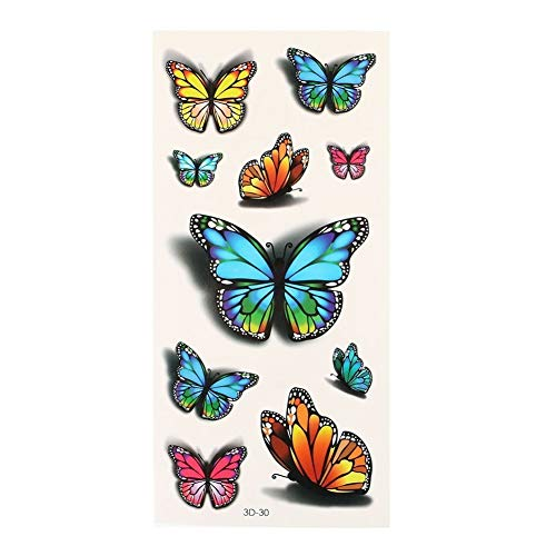 1 Blatt Temporäre Tattoo 3D-Effekt Körper Gesicht Aufkleber wasserdichte Schmetterlinge Tattoos