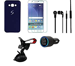 NIROSHA Tempered Glass Screen Guard Cover Case Car Charger Headphone Mobile Holder for Samsung Galaxy A8 - Combo
