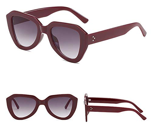 WSKPE Sonnenbrille Cat Eye Sonnenbrille Gradient Gläser Kunststoff Sechskant Sonnenbrille Uv400 Dark Red Frame Doppelter Grauer Linse