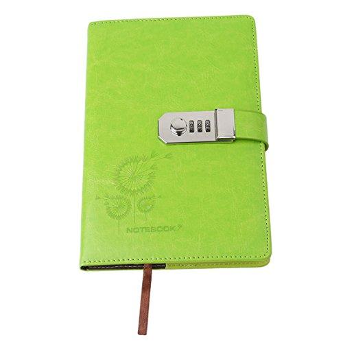 Passwort Mädchen Für Tagebuch (VWH Tagebuch mit Passwort, Spiralnotizbuch, Hochwertiger Thread installiert Notepad, Kunstleder, mit Zahlenschloss, Kartenfächern (Grün))