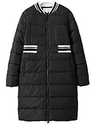 QIANQIAN Las señoras cuello zip alrededor de cartera espesado slim slim tapas y fertilizantes mayor chaqueta de algodón , big yards xxxxl , black