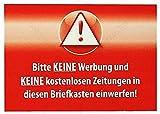 15cm! 2Stück! Aufkleber-Folie UV&Wetterfest MADE IN GERMANY Auto-Sticker-Designs® Vorsicht Bitte-keine-Werbung-Briefkasten kostenlos Zeitung Zeitschrift Rot S896 Waschanlagenfest Sticker Decal viele Jahre haltbar Hochleistungs-Druck schutzbeschichtet kratzfest laminiert bunt Motiv auf Umriss ausgeschnitten!Wohmobil Wohnwagen Camping Zimmer Deko