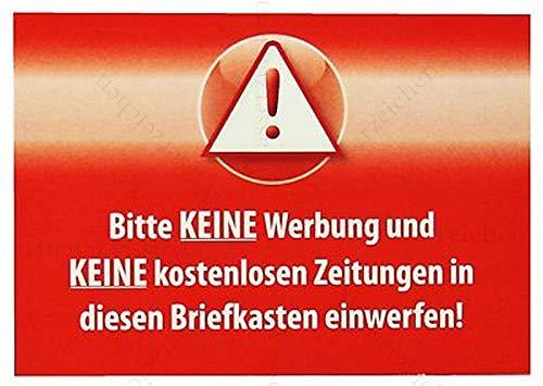 Sticker-Designs 10cm!2Stück!Aufkleber-Folie Wetterfest Made IN Germany Vorsicht Bitte-Keine-Werbung-Briefkasten kostenlos Zeitung Rot S896 UV&Waschanlagenfest-Auto-Vinyl-Sticker Decal Profi Qualität -