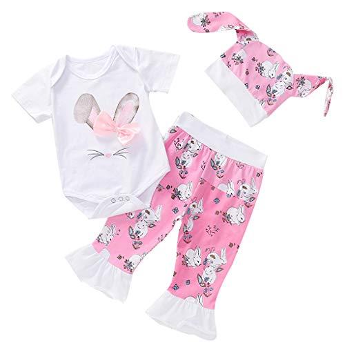 Covermason Kleinkind Kinder Baby Mädchen Karikatur Hase Tops Drucken Strampler Jumpsuit Overall+Hosen Sets ... (12-18M, Pink) -