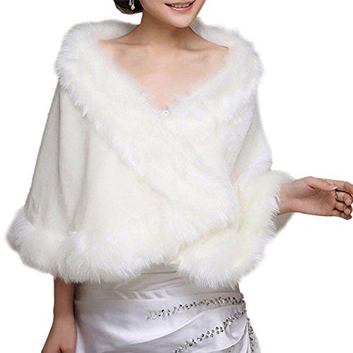 Insun Mujeres Chales Estolas de piel Boleros Chal de moda de lujo para fiesta bodas Blanco