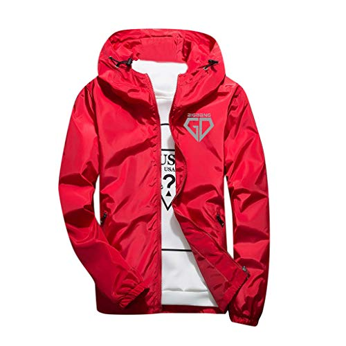 Xmiral Herren Sportjacke Casual Reflektierendes Licht Logo Printed Hoodie Outdoor Coat(EU 58,Rot)