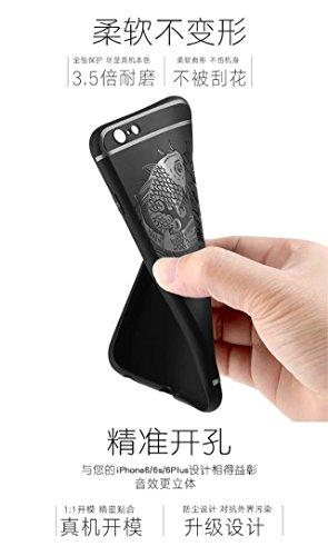 Wkae IPhone 6S Plus Case, Double Fish geprägt Premium Qualität Edge Inclusive schützen Shockproof Ultra-dünnen weichen TPU Back Cover für IPhone 6S Plus / iPhone 6 Plus ( Color : Black , Size : Fish P Blue