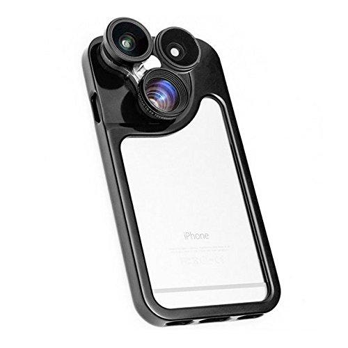 Saflyse 4in 1–Adattatore grandangolo 0.67X Obiettivo grandangolare per fotocamera lente fisheye 180° + 2x Extender Lens + 10x Macro Lens Adattatore Fotocamera per iPhone 6 Light Green Light Green