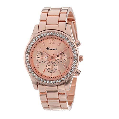 Uhren Damen,linqi1164 Armbanduhren für Frauen Günstige Uhren Wasserdicht Casual Analoge Quarz Uhr Luxus Armband Uhren Edelstahl Mesh Business Mädchen Frau Sport Uhr (Rose Gold-Diamant)