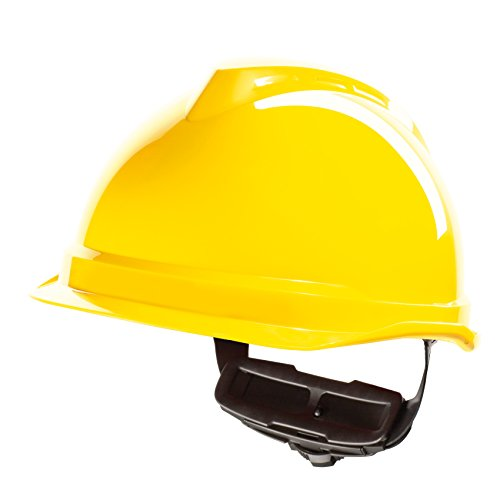 Casco per Lavoratori Edili MSA V-Gard 520 con Rotella FasTrack - Casco da Lavoro, Casco di Protezione, Casco per Cantiere, Colore: Giallo
