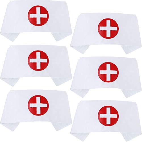 meekoo 6 Stücke Krankenschwester Mütze Stirnband Drucken Kreuz - Halloween Krankenschwester Kostüm