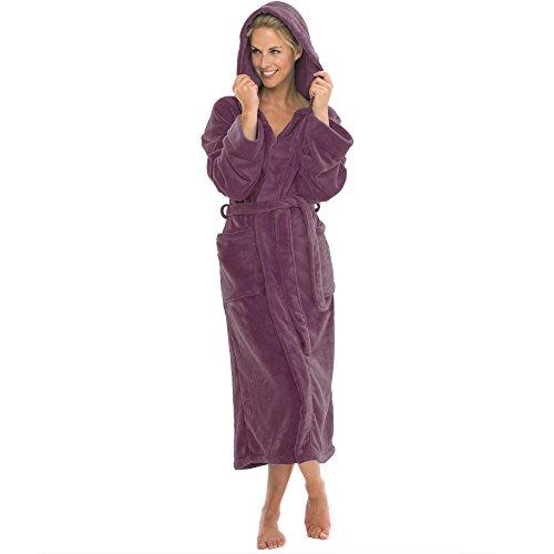 aqua-textil Bademantel mit Kapuze Damen Herren Morgenmantel weich und super flauschig, Coral Fleece Saunamantel lang, 1000461 Malibu XXXL Pflaume