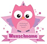 Samunshi® Rosa Eule Aufkleber mit Namen Autoaufkleber Namensaufkleber Kinder in 7 Größen (25x22cm Mehrfarbig)