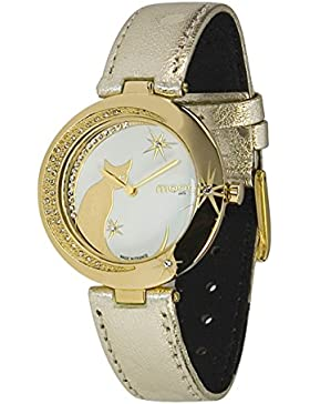 Moog Paris Lucille Damen Uhr mit Weiß Zifferblatt, Swarovski Elements & Gold Armband aus Echtem Leder - M44912...