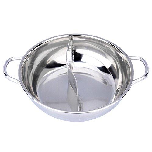 Starworld Edelstahl Dual Hot Pot, Yuanyang Topf mit 28cm doppelseitigem Shabu Shabu, Chafing Dish Kochgeschirr - Hot Pot