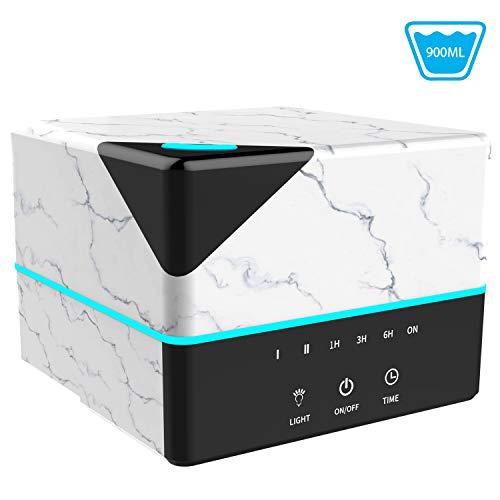 Aroma diffuser Tenswall 900ml Ultraschall-Luftbefeuchter mit Marmorkorn, 7 Farben LED-Licht, 4 Timer, optionaler Luftreiniger mit 2 Nebeln, 21 Stunden Betriebszeit Aroma-Diffusor