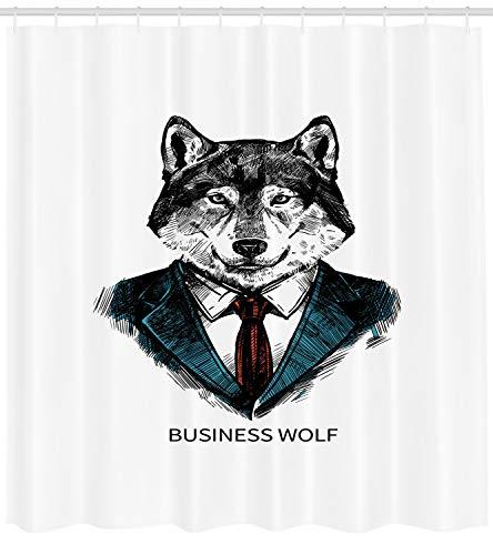 Abakuhaus Wolf Duschvorhang, Business-Tier im Anzug, mit 12 Ringe Set Wasserdicht Stielvoll Modern Farbfest und Schimmel Resistent, 175x220 cm, Zinnoberrot Schwarz Teal
