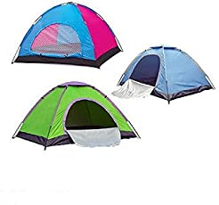 Diswa 4 Person Polyester Pongee Dome Camping Tent (Colour May Vary, 4 People Tent_4)
