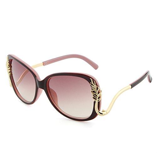 JIU-GLASSES Gläser UV400 Designer Polycarbonat Sonnenbrille Frauen Retro Pink Red Metallrahmen Sonnenbrille Oculos De Sol Feminino (Color : Red+pink)