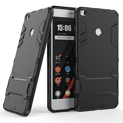 Xiaomi Mi Max 2 Hülle, SsHhUu Stoßsichere Dual Layer Hybrid Tasche Schutzhülle mit Ständer für Xiaomi Mi Max 2 (6.44 Zoll) Schwarz