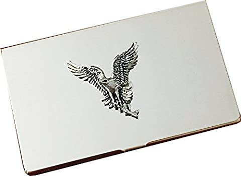 Chrome Business Card and Credit Card Holder Case with Pewter Osprey Bird of Prey Bird Emblem, Complete with Gift Box by Reallyusefulgifts