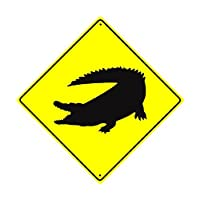 """St574ony Metal Sign 12""""X12"""" Danger Crocodile Alligator Xing Crossing Wildlife Animal Attack Caution Safety Novelty Road Wall DÉCor Diamond Metal Prompt slogan Sign"""
