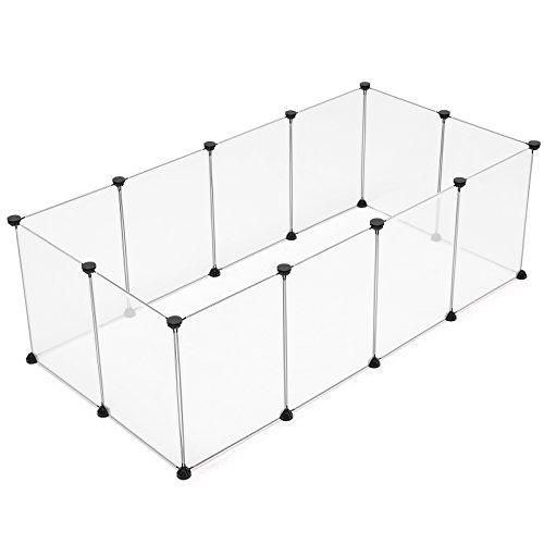 SONGMICS Verstellbares Laufstall für Kleintiere und Hamster inkl Gummihammer Freigehege für Innen Individuell Zusammenbaubar weiß transparent 143 x 46 x 73 cm (B x T x H) LPC01W