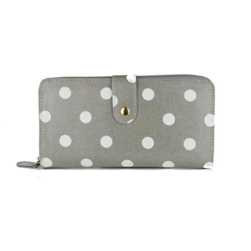 Miss Lulu - Portafoglio con zip in tessuto cerato, motivo a pois Big Polka Dots Grey