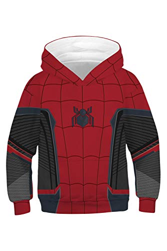 MingoTor Kinder Jungen Mädchen Spider-Man: Far from Home Kapuzenjacke 3D Pullover mit Kapuze Sweatjacke Hoodie Cosplay Kostüm - Spiderman Kostüm Hoodie