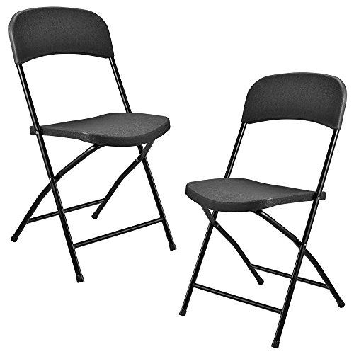 [casa.pro]®] Klappstuhl aus Kunststoff - 2er Set - dunkelgrau klappbar leicht - perfekt zum Campen, Angeln oder Grillpartys