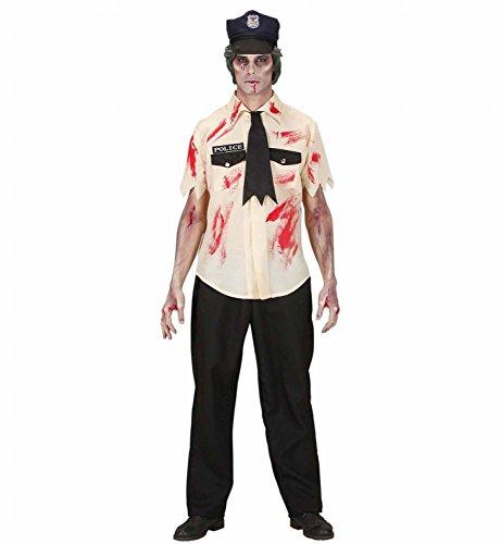 Widmann 87263 - Erwachsenenkostüm Zombie Polizist, Hemd, Hose, Krawatte und Hut, Gröߟe L (Zombie Polizei Kostüme)
