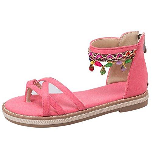 COOLCEPT Damen Bohmen Knochelriemchen Sandalen Flach Clip Toe Schuhe Mit Zipper Rosa lU4G8XogB