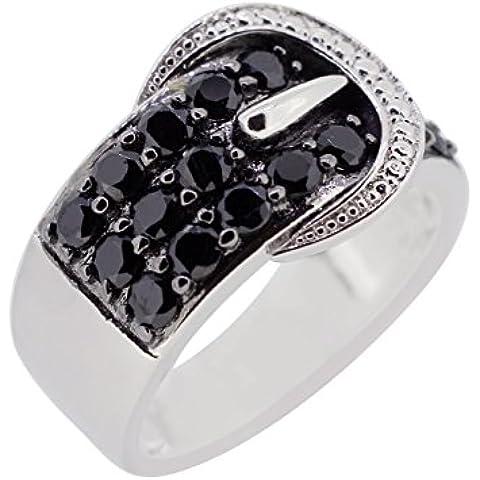 kamya–Anello da donna in argento 925rodiato con spinello nero r3041bksp