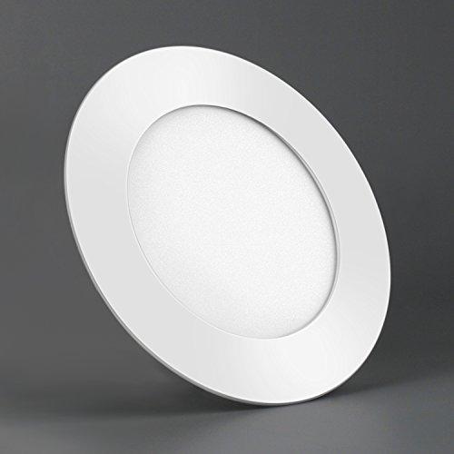 LED Panel Leuchte Dimmbar Deckenlampe Rund Ultraslim Einbaustrahler 105-280mm(6W/105mm,Warmweiß Dimmbar) (Leuchte Bad Seite)