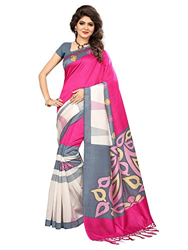 SAREE MALL Women's Art Silk Saree With Blouse Piece(Pink_Free Size)