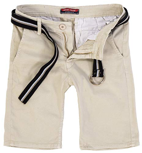 Rock Creek Herren Chino Shorts Hose Kurz Chinoshorts Inkl Gürtel Männer Sommer Bermuda Stretch Rc-2133 38 Beige -