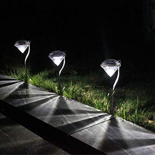 - WATOPI - Luci solari da giardino a forma di diamante, impermeabili, dal tramonto all'alba, accensione e spegnimento automatici, luce bianca